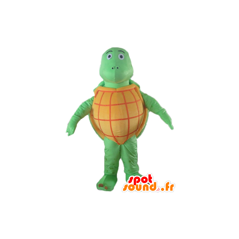 Mascot oranje en groene schildpad, allround, zeer succesvol - MASFR24136 - Turtle Mascottes