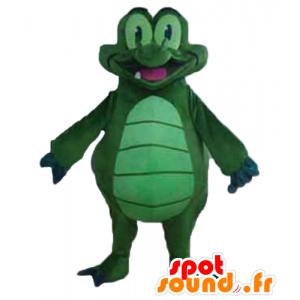 Verde mascotte e blu coccodrillo, gigante, molto divertente - MASFR24137 - Mascotte di coccodrilli
