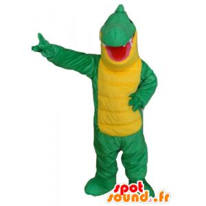 Green and yellow crocodile mascot, giant - MASFR24138 - Mascot of crocodiles