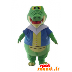 Green and yellow crocodile mascot, with a colorful vest - MASFR24139 - Mascot of crocodiles