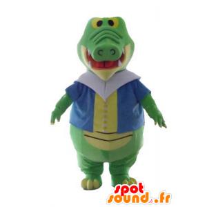 Verde y amarillo mascota de cocodrilo, con un chaleco colorido - MASFR24139 - Mascota de cocodrilos