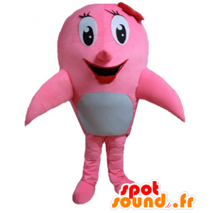 Mascot pink and white dolphin, whale