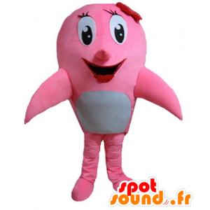 Maskotti vaaleanpunainen ja valkoinen delfiini, valas