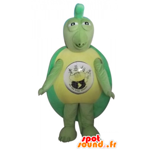 Green turtle mascot and yellow, original and funny