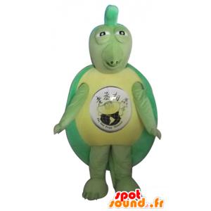 Groene schildpad mascotte en geel, origineel en grappig