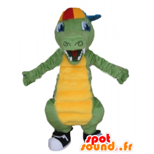 Verde e giallo coccodrillo mascotte, con un tappo - MASFR24143 - Mascotte di coccodrilli