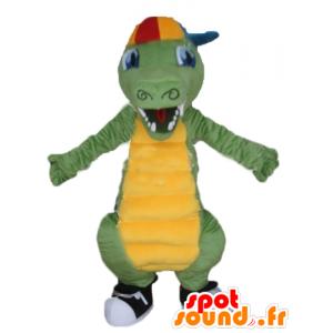Verde y amarillo mascota de cocodrilo, con una gorra - MASFR24143 - Mascota de cocodrilos