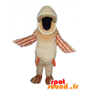 Mascot stor fisk beige, oransje og rødt