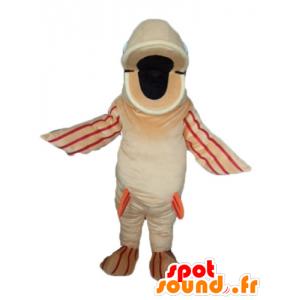 Mascotte de gros poisson beige, orange et rouge