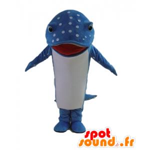 Mascotte de poisson, de dauphin bleu et blanc, à pois