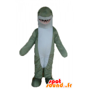 Mascot gray and white shark, realistic and impressive - MASFR24149 - Mascots shark