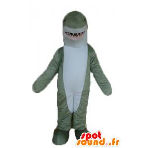 Maskotka szary i biały rekin, realistyczny i efektowny
