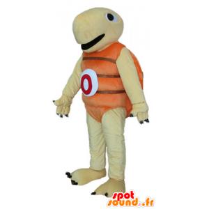 Beige schildpad mascotte en oranje, zeer joviaal en glimlachend - MASFR24150 - Turtle Mascottes