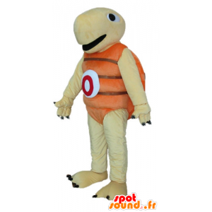Beige turtle mascot and orange, very jovial and smiling - MASFR24150 - Mascots turtle