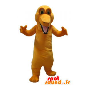Mascotte de crocodile orange, géant et coloré