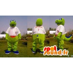 Dragon mascot, green dinosaur in white dress - MASFR006628 - Dragon mascot