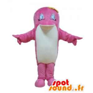 Mascotte de poisson rose et blanc, de dauphin