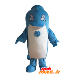 Blue and white dolphin mascot, giant cute