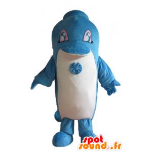 Mascotte de dauphin bleu et blanc, géant et mignon