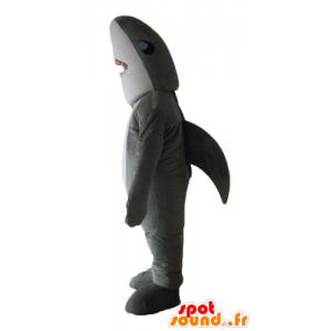 Mascot gray and white shark, realistic and impressive - MASFR24166 - Mascots shark