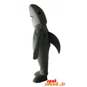 Maskot šedý a bílý žralok, realistické a působivé