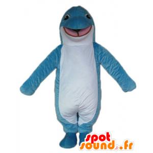 青と白のイルカのマスコット、笑顔でオリジナル-MASFR24168-イルカのマスコット