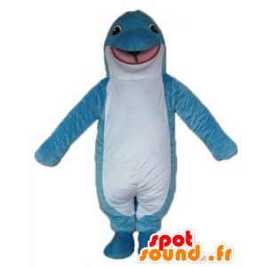 Mascotte de dauphin bleu et blanc, souriant et original
