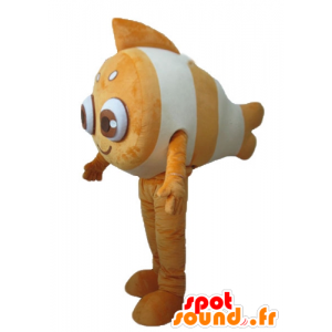Mascot clown fish, orange and white, very smiling - MASFR24170 - Mascots fish