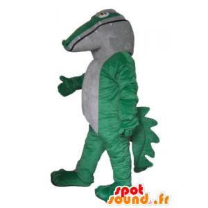 Verde e bianco coccodrillo mascotte, gigante e impressionante - MASFR24171 - Mascotte di coccodrilli