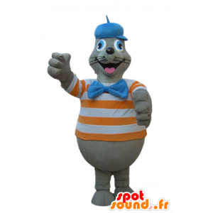 Mascotte gray fur seal with a striped shirt orange and white