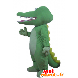 Green and yellow crocodile mascot, giant - MASFR24176 - Mascot of crocodiles