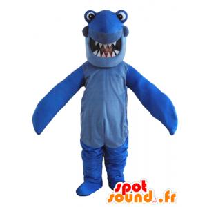 Mascot blå hai med store tenner