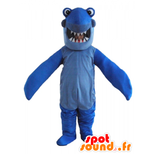 Maskotka niebieski rekin z wielkimi zębami