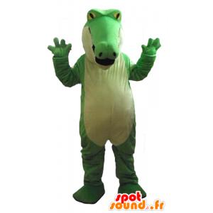 Verde e bianco coccodrillo mascotte, paffuto, molto impressionante - MASFR24183 - Mascotte di coccodrilli