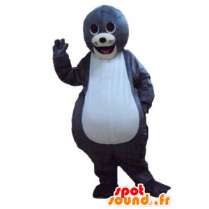 灰色と白のカワウソのマスコット、キュートで笑顔-MASFR24184-海のマスコット