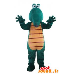 Mascota del cocodrilo verde y amarillo, gigante y diversión - MASFR24185 - Mascota de cocodrilos