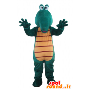 Verde e giallo coccodrillo mascotte, gigante e divertimento - MASFR24185 - Mascotte di coccodrilli