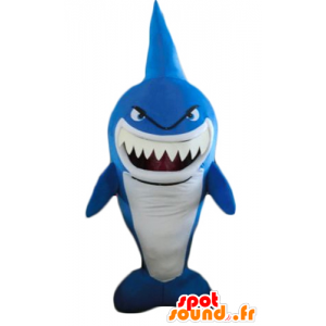 Mascot blue and white shark, very funny, fierce-looking - MASFR24186 - Mascots shark