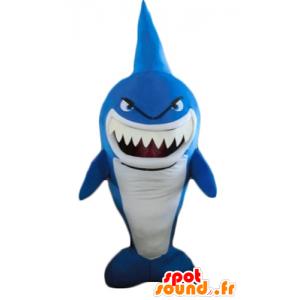 Maskotka niebieski i biały rekin, bardzo śmieszne, ostra wyglądających