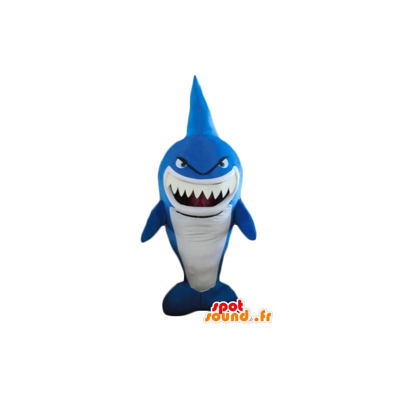 Mascot blue and white shark, very funny, fierce-looking - MASFR24186 - Mascots shark