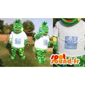 Zelený tvor maskot. Frog Suit