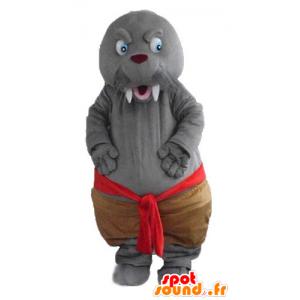 Mascotte de phoque, de morse gris, avec de grandes dents