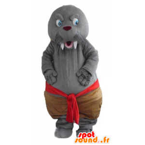 Seal mascot, gray walrus with big teeth - MASFR24188 - Mascots seal