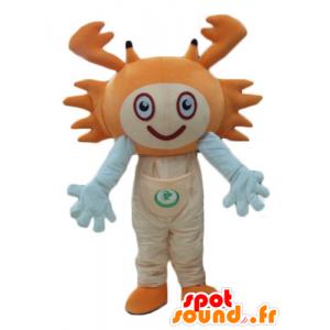 Mascotte de crabe orange et blanc, très souriant