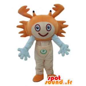 Orange and white crab mascot, cheerful