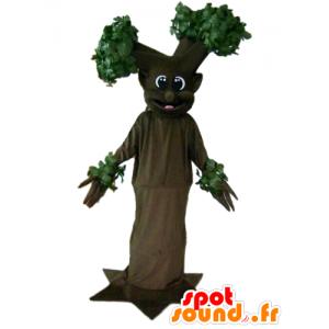 Marrone mascotte e albero verde, gigante e sorridente - MASFR24199 - Mascotte di piante