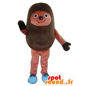 Brown hedgehog mascot, bicolor, cheerful - MASFR24200 - Mascots Hedgehog