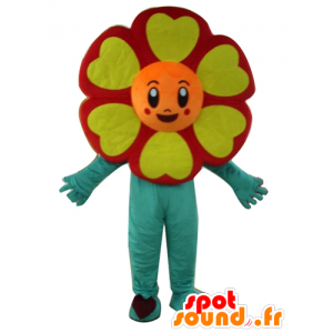 Mascot rote Blume, orange, gelb und grün, sehr fröhlich