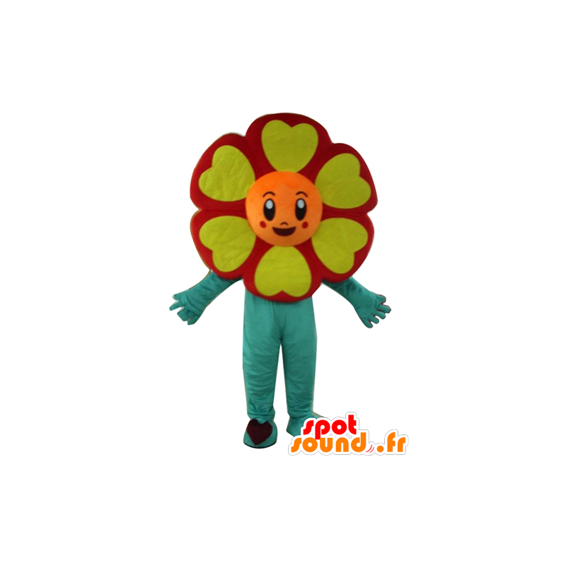 Mascot red flower, orange, yellow and green, very cheerful - MASFR24201 - Mascots of plants