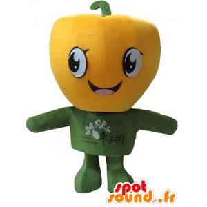 Mascotte große gelbe Paprika, Riesen und lächelnd - MASFR24204 - Maskottchen von Gemüse